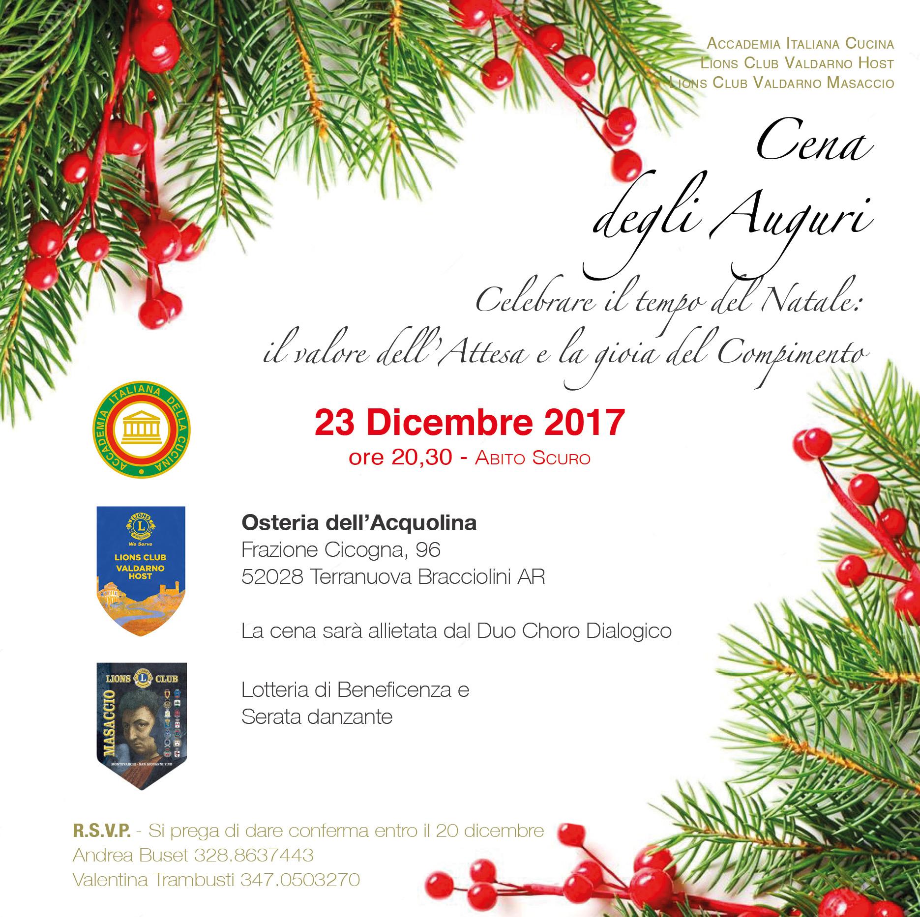 Cena Auguri Di Natale.Cena Degli Auguri 2017 Lions Club Valdarno Masaccio